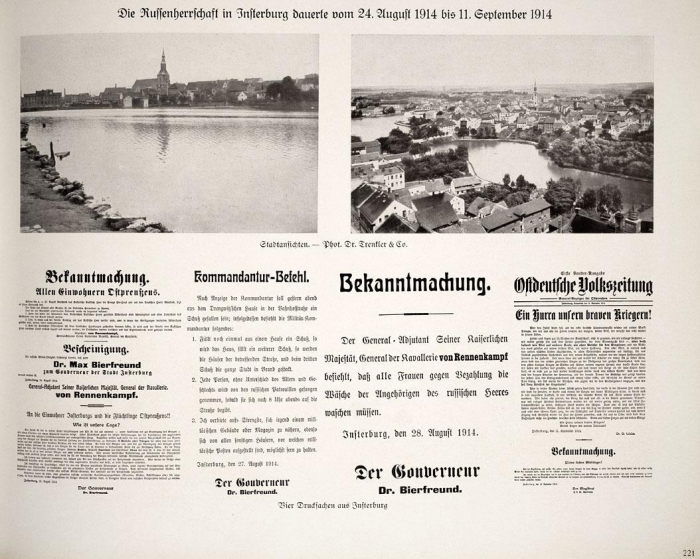 Die Russenherrschaft in Insterburg dauerte von 24. August 1914 bis 11. September 1914, Insterburg