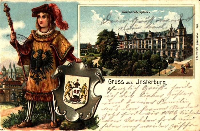 Markgrafenplatz. Postkarte, Insterburg