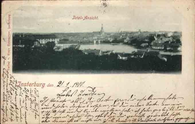 Total-Ansicht. Postkarte, Insterburg
