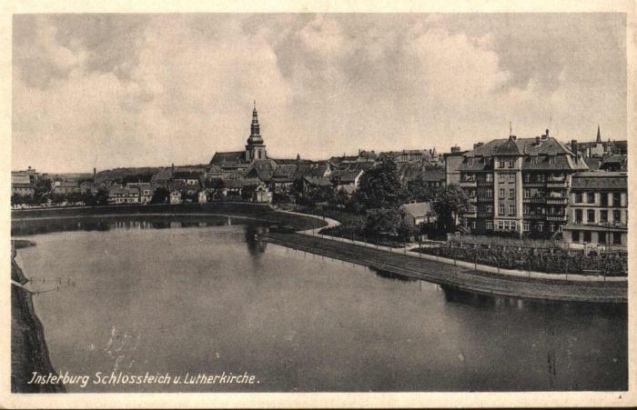 Schlossteich u. Lutherkirche, Insterburg