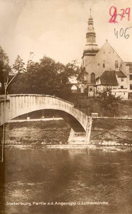 Partie an dem Angerapp und Lutherkirche, Insterburg