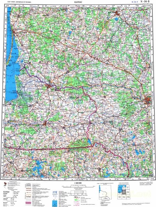 Топографическая карта, лист N-34-Б