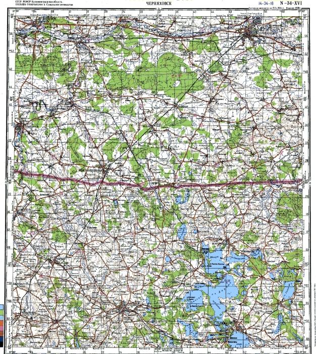 Топографическая карта, лист N-34-XVI