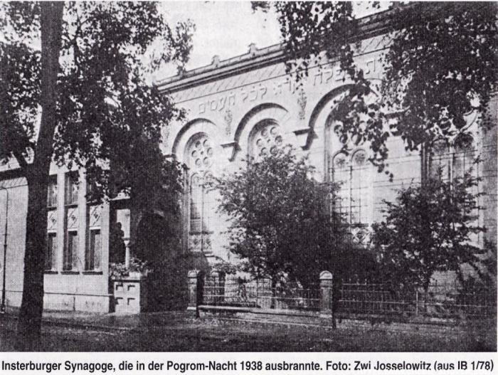 Insterburger Synagoge, die in der Pogrom-Nacht 1938 ausbrannte, Insterburg