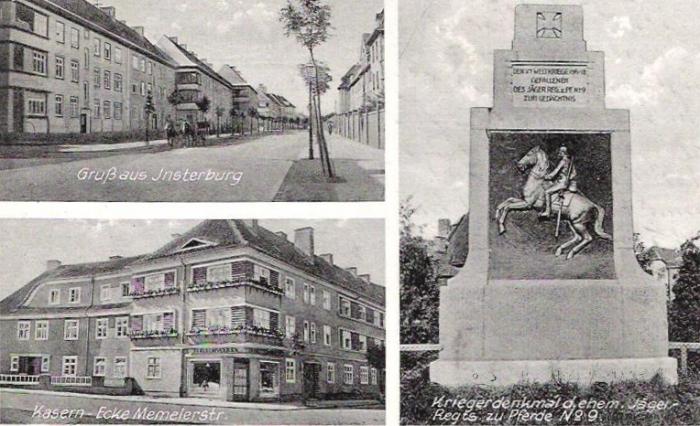 Gruss aus Insterburg, Kaserne-Ecke Memeierstr., Kriegerdenkmal, Insterburg