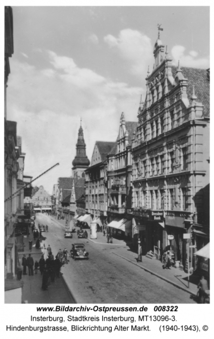 Hindenburgstrasse, Blickrichtung Alter Markt, Insterburg