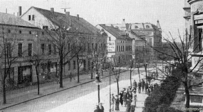 Die Wilhelmstrasse von der Ecke Deutschestrasse, Insterburg