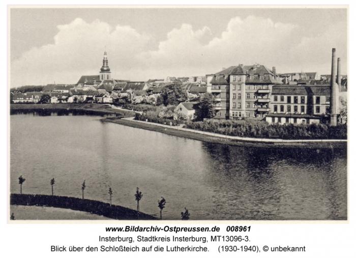 Blick über den Schlossteich auf die Lutherkirche, Insterburg