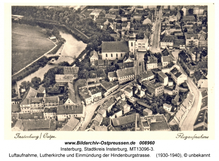 Luftaufnahme, Lutherkirche und Einmündung der Hindenburgstrasse, Insterburg