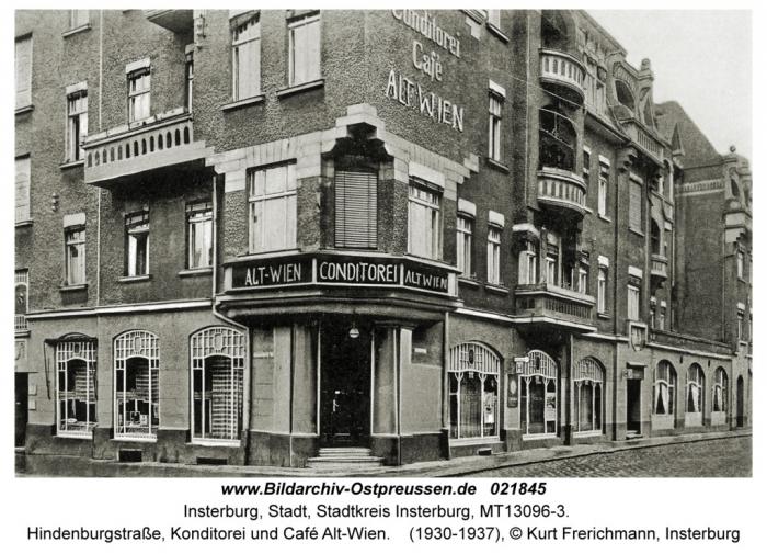 Hindenburgstrasse, Konditorei und Cafe Alt-Wien, Insterburg