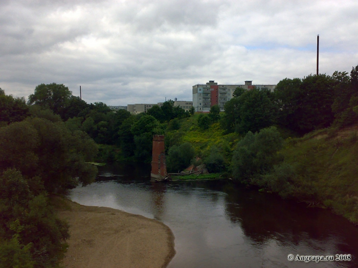 Вид на реку Анграпа с железнодорожного моста, Черняховск