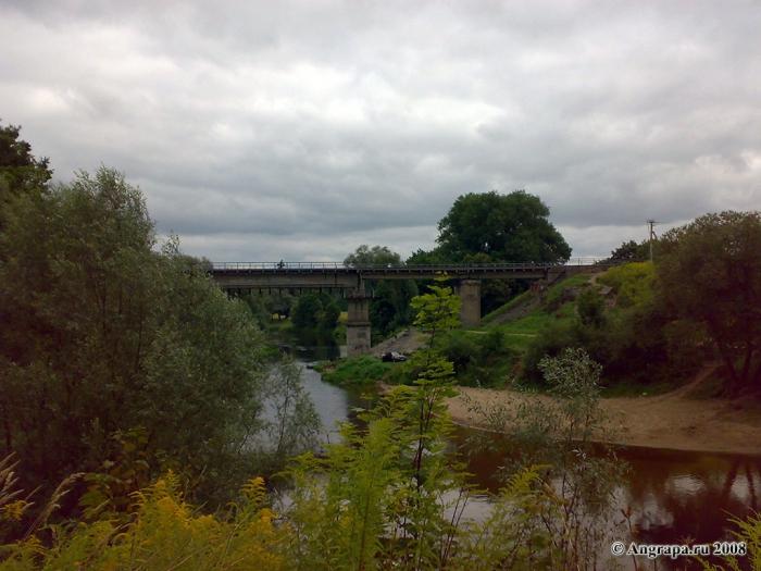 Вид на реку Анграпа и железнодорожный мост, Черняховск