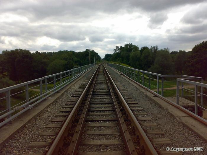 Вид на железнодорожные пути (железнодорожный мост), Черняховск