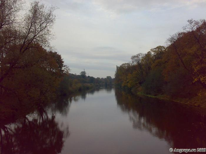 Вид на реку Анграпа с навесного моста, Черняховск